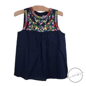 NWT J.Crew Embroidered Tank Top Floral Blue Sz 00